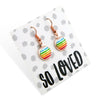 Stripe Resin - SO LOVED - Stainless Steel Rose Gold Dangle Earrings - Rainbow (2109-A)
