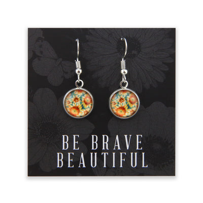 Wildflower Collection - Be Brave Beautiful - Stainless Steel Bright Silver Dangle Earrings - Sunflower Burst (8817-R)