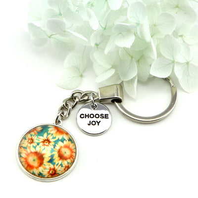 Wildflower Collection - Vintage Silver Keyring with 'CHOOSE JOY' Charm - Sunflower Burst (10923-A)