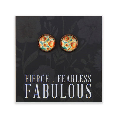 Wildflower Collection - Fierce Fearless Fabulous - Vintage Copper surround Circle Studs - Sunflower Burst (8813-F)