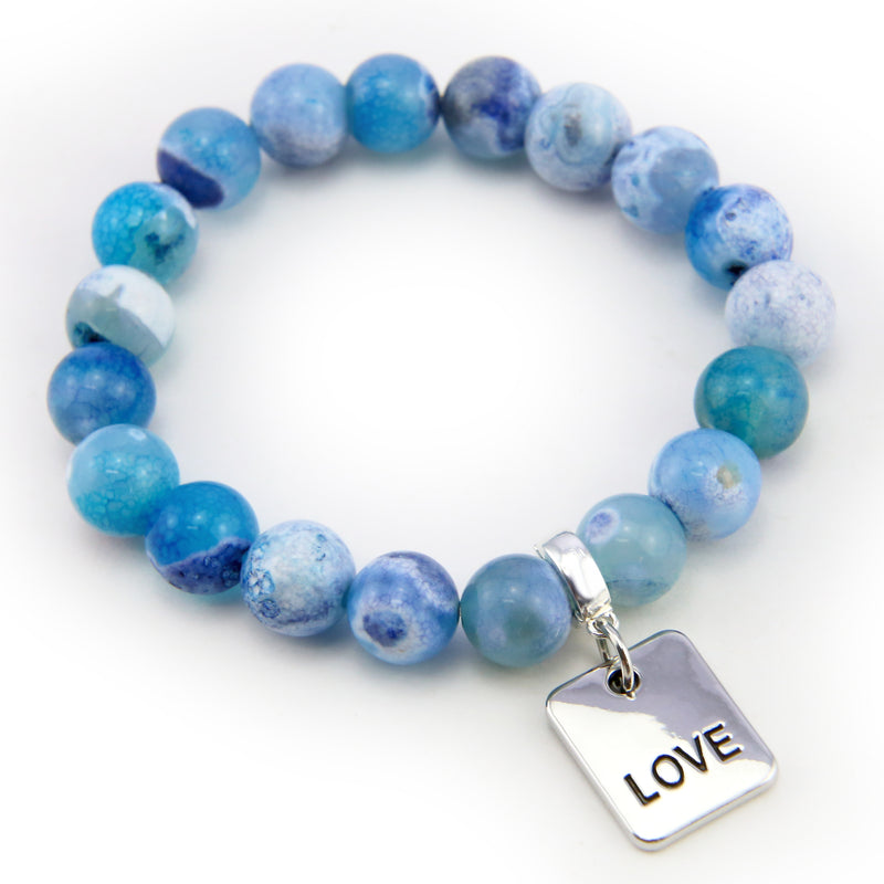 Stone Bracelet - Surf Spray Fire Agate 10mm Beads - with Silver Word Charm
