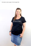 Grateful Tee - White Scoopy - Charcoal Shimmer Print