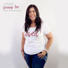 LOVED Tee - Black Scoopy - Dusty Blush Pink Print