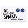SPARKLEFEST - She Leaves a Little Sparkle - Stainless Steel Vintage Silver Earrings - Midnight Aqua Leaf (8509-F)