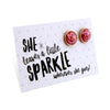 SPARKLEFEST - She Leaves a Little Sparkle - Stainless Steel Rose Gold Earrings - Poppin Pink Glitter (8411)