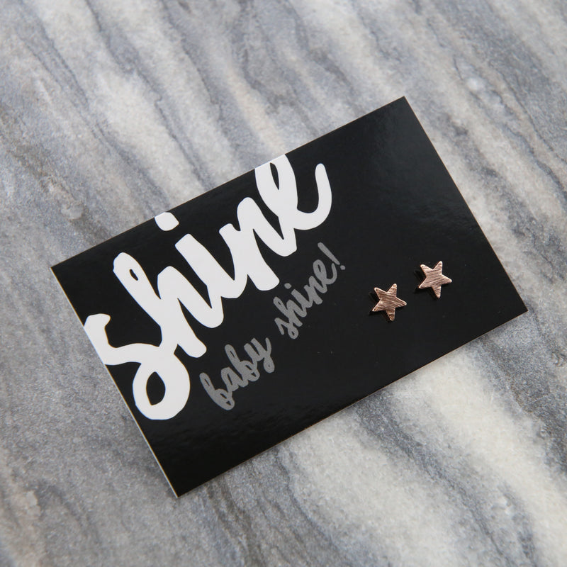 Shine Baby Shine! - Tiny Star Studs  - Brushed look Rose Gold Earrings (9710)