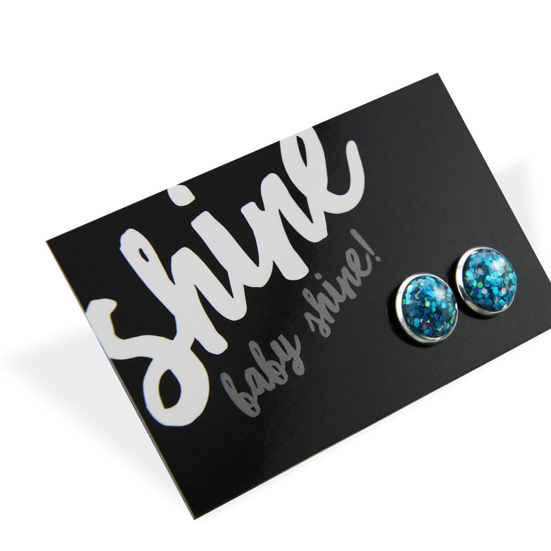 SPARKLEFEST - Shine Baby Shine! - Glitter Resin Earrings set in Bright Silver - Aqua & Silver (9505)