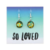 SPARKLEFEST Dangles - So Loved - Stainless Steel Bright Silver Earrings - Big Glitter Teal, Rust & Gold Party (8905-F)