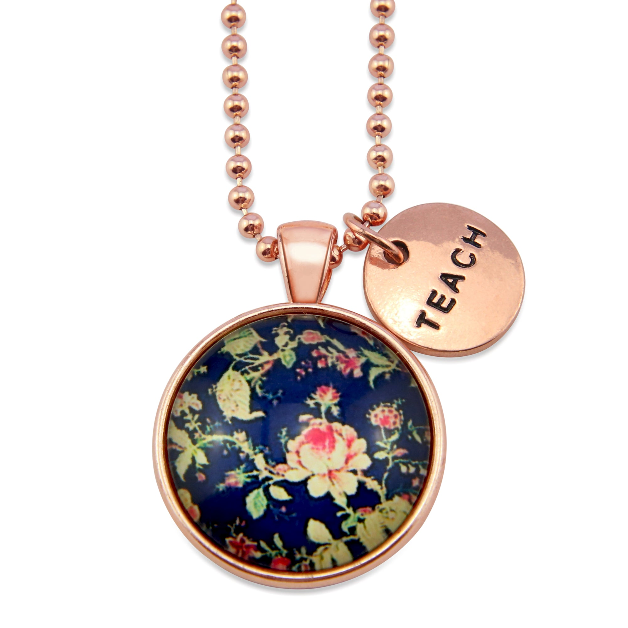 Spring Florals - Rose Gold ' TEACH ' Necklace  - Rambling Rose (10744)