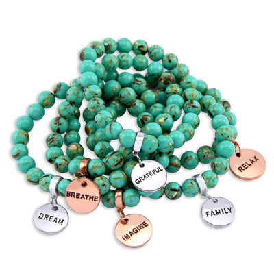 Stone Bracelet - Teal Synthesis 8mm Bead Bracelet  -  Silver Word Charms