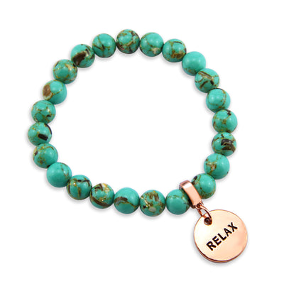 Stone Bracelet - Teal Synthesis 8mm Bead Bracelet  -  Rose Gold Word Charms