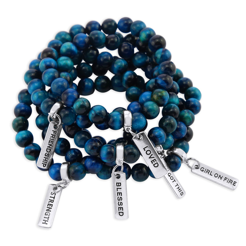 Precious Stones - Teal Tigers Eye 8mm bead bracelet - with Word Charms (3014)