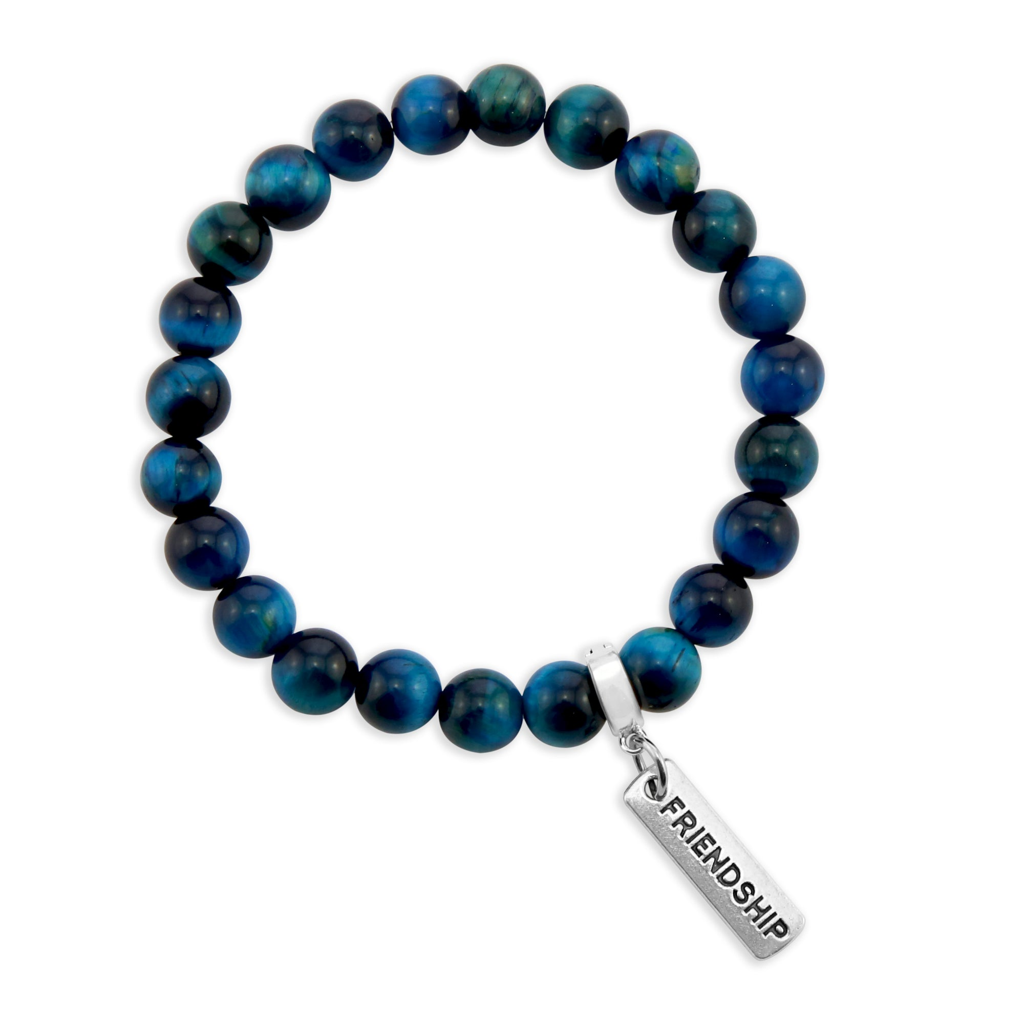 LIMITED EDITION Precious Stones - Teal Tigers Eye 8mm bead bracelet - with Word Charms (3014)