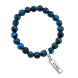 LIMITED EDITION Precious Stones - Teal Tigers Eye 8mm bead bracelet - with Word Charms (3004)