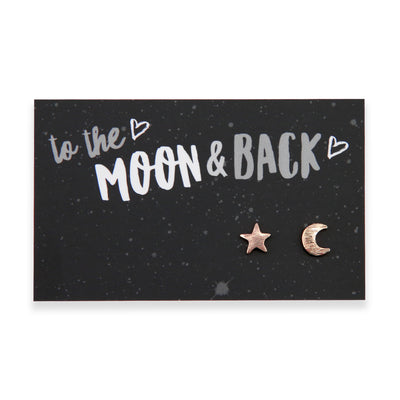 TO THE MOON & BACK - Plated Stud Earrings - Rose Gold (9708)