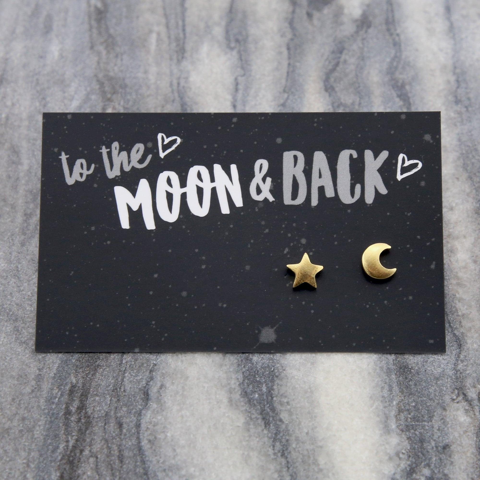 TO THE MOON & BACK - Plated Stud Earrings - Gold (9706)