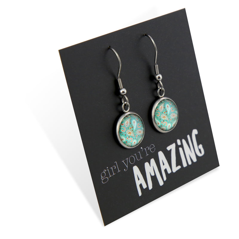 BOHO Collection - Girl You're Amazing - Stainless Steel Vintage Silver Dangle Earrings - Tranquil (8315)