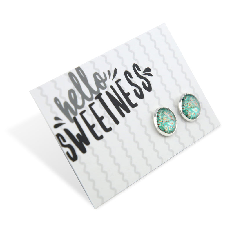 BOHO Collection - Hello Sweetness - Bright Silver surround Circle Studs - Tranquil (8306-F)