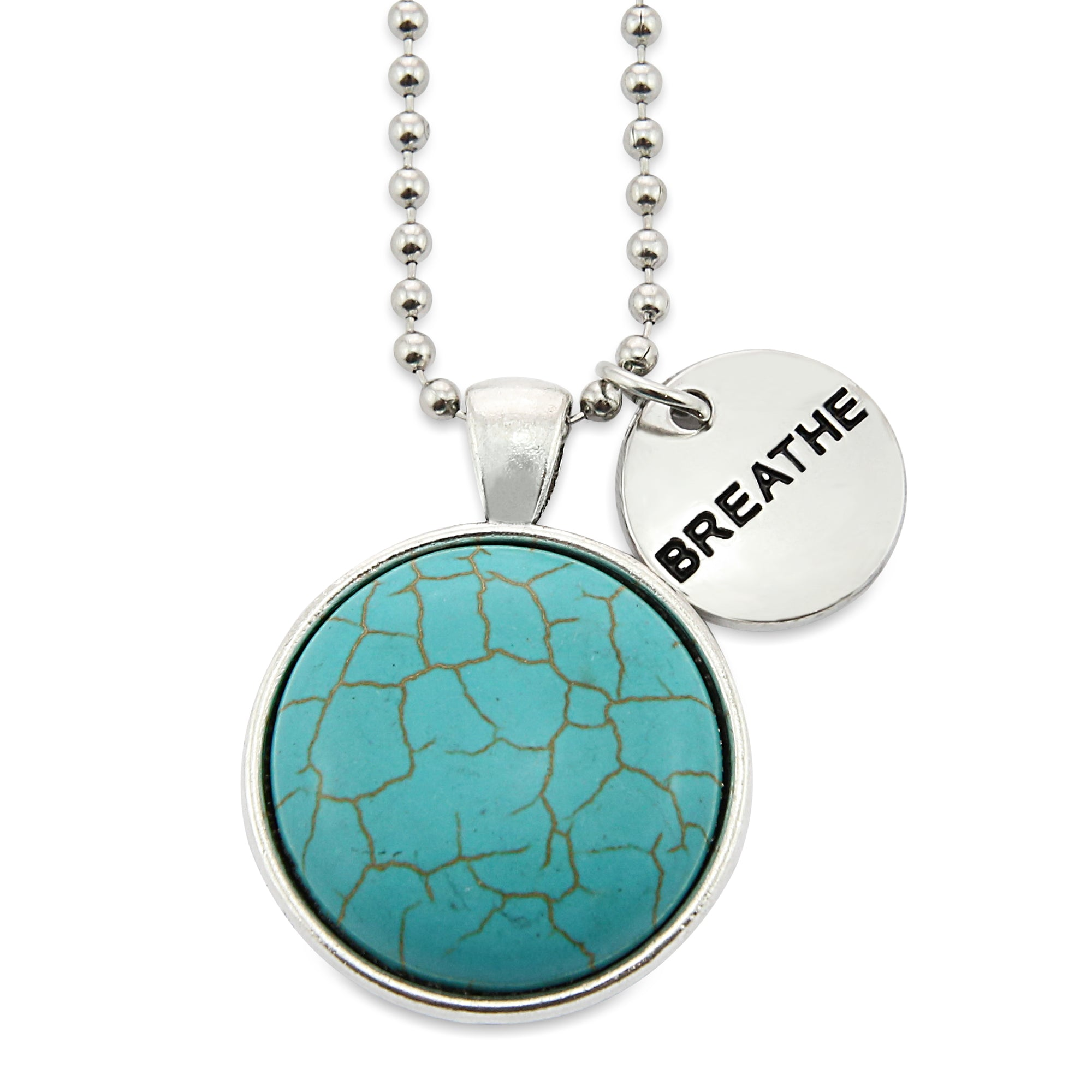 Heart & Soul Collection - Turquoise Stone in Vintage Silver ' BREATHE ' Necklace (11235)