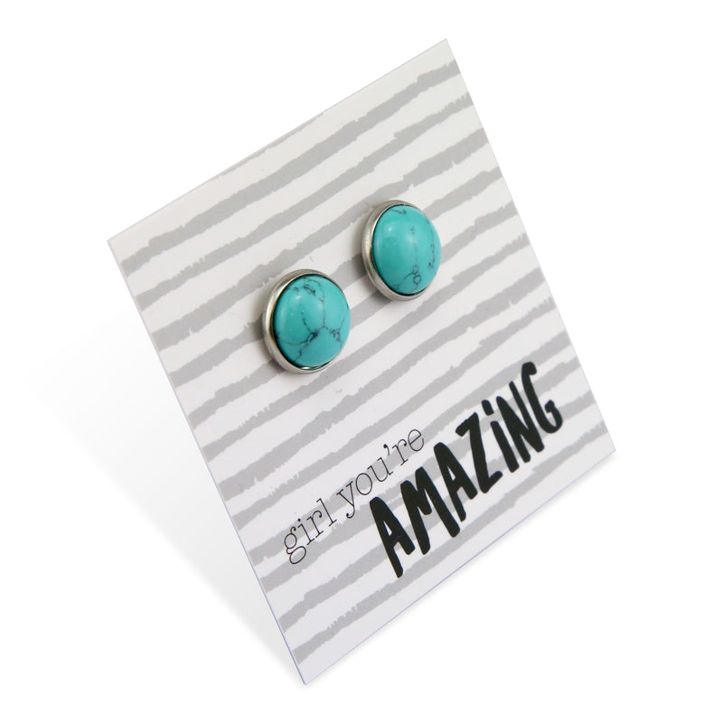 Stone Earrings - Girl You're Amazing - Silver Surround Earring Studs -  Turquoise (9-105)