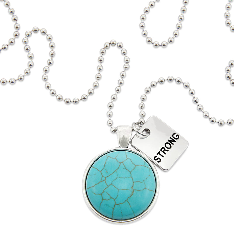 > Heart & Soul Collection - Turquoise Stone in Vintage Silver 'STRONG' Necklace (