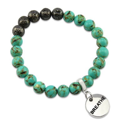 Lava Stone Bracelet -  8mm Turquoise Synthesis + Metallic Lava Stone beads - with Silver Word Charm
