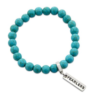 Stone Bracelet - Turquoise 8mm beads - with Word charm
