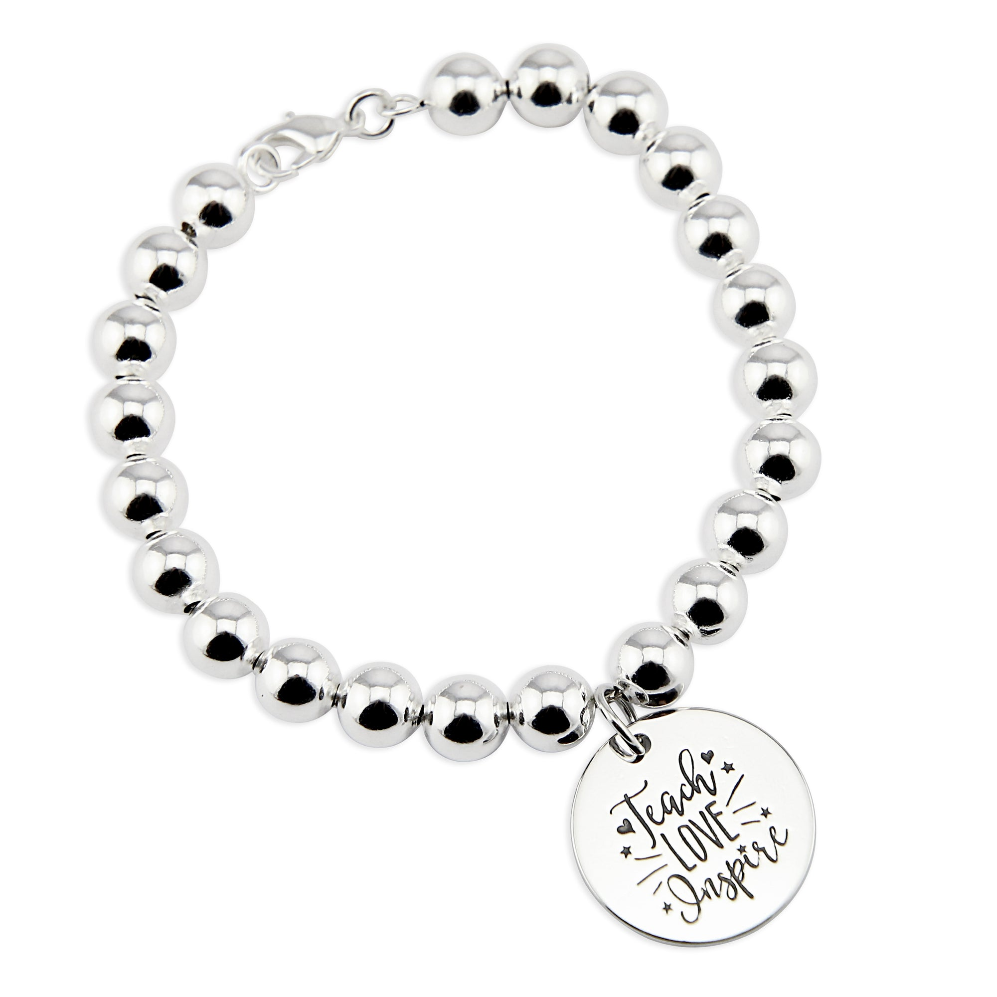 Silver Ball Bracelet 8mm - TEACH LOVE INSPIRE (5010-5)