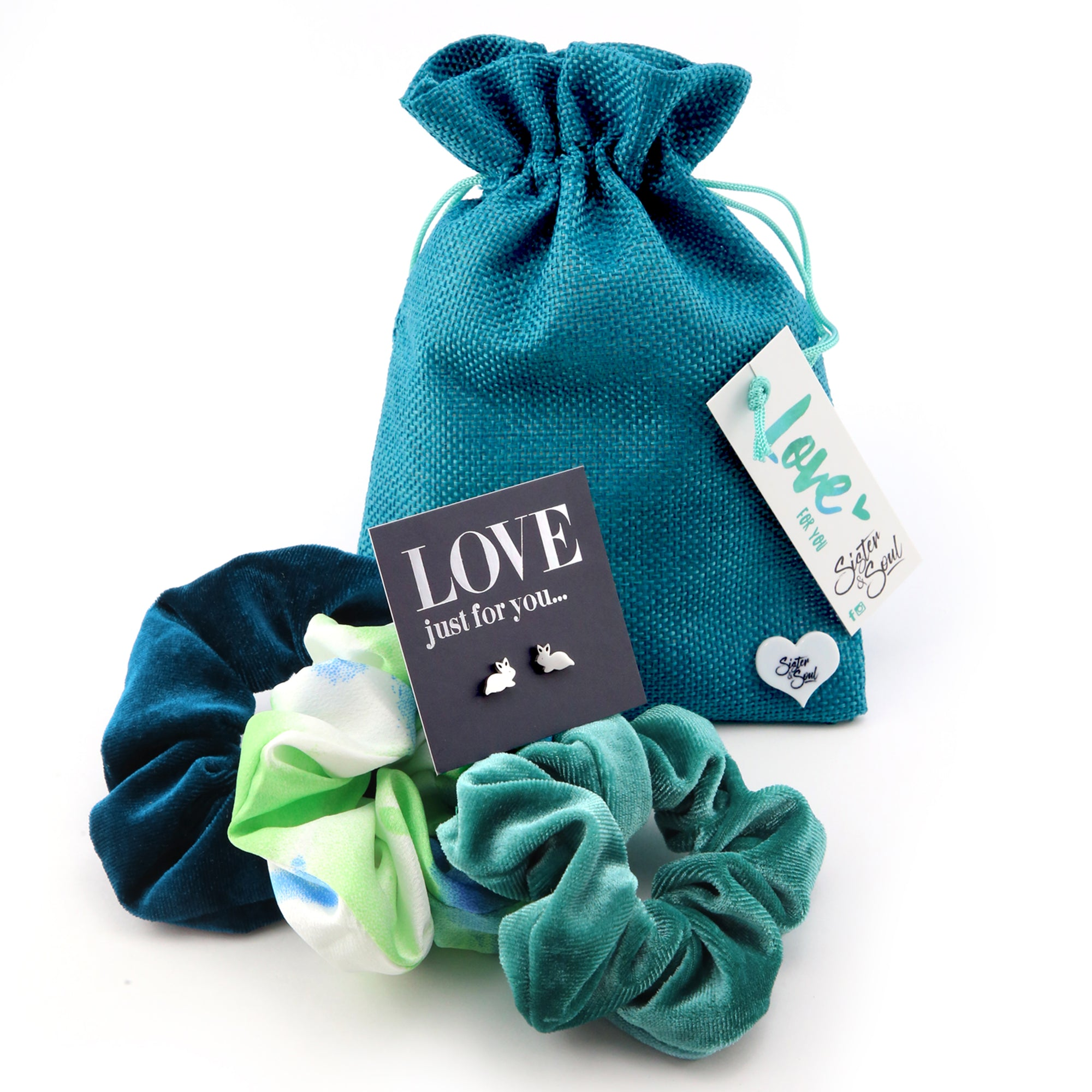 Teal & Green SCRUNCHIE Easter Gift Bundle with BUNNY Earring Studs (S01)