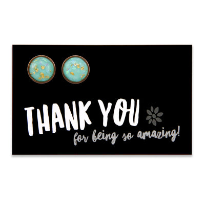SPARKLEFEST - Thankyou for being so kind- Stainless Steel Rose Gold Earrings - Aqua Gold Leaf (8410)