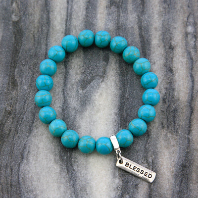 Stone Bracelet - Turquoise 10mm beads - with Word charm