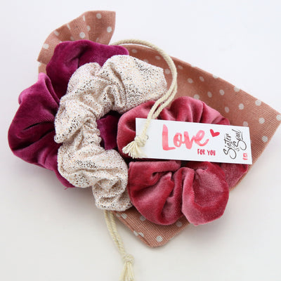 LOVELY Dusty Rose Scrunchie Bundle Gift Pack - (7018)