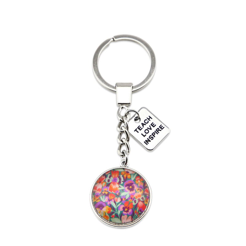 Wildflower Collection - Vintage Silver Keyring with 'TEACH LOVE INSPIRE' Charm - Violetta (11462-A)