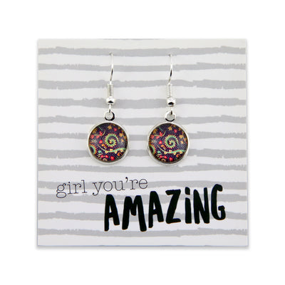 BOHO Collection - Girl You're Amazing - Stainless Steel Bright Silver Dangle Earrings - Wanderer (9216)