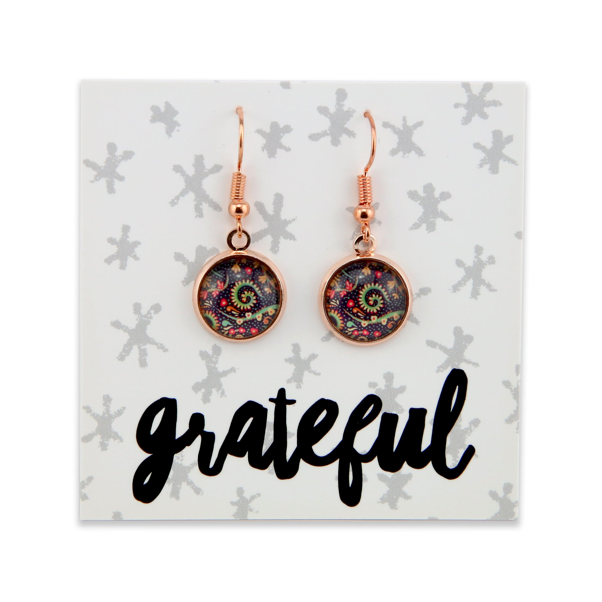 BOHO Collection - GRATEFUL - Stainless Steel Rose Gold Dangle Earrings - Wanderer (8066)