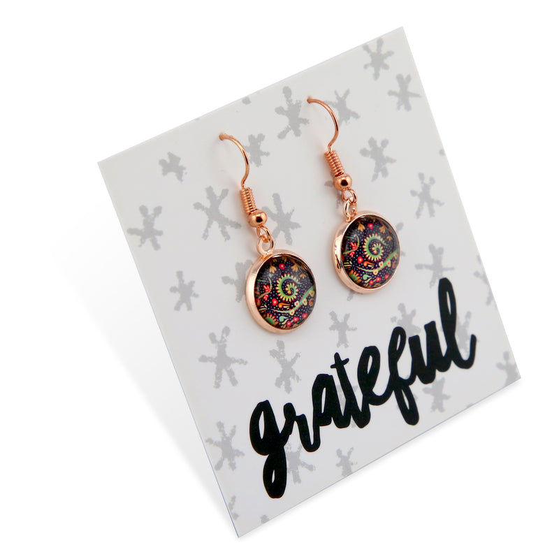 BOHO Collection - GRATEFUL - Stainless Steel Rose Gold Dangle Earrings - Wanderer (8606-R)