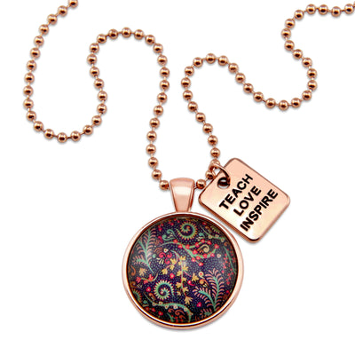 BOHO Collection - Rose Gold 'TEACH LOVE INSPIRE' Necklace - Wanderer (11162)