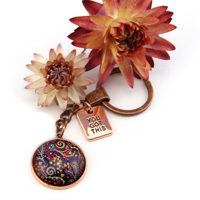 BOHO Collection - Vintage Rose Gold Keyring with 'YOU GOT THIS' Charm - Wanderer (10741-B)