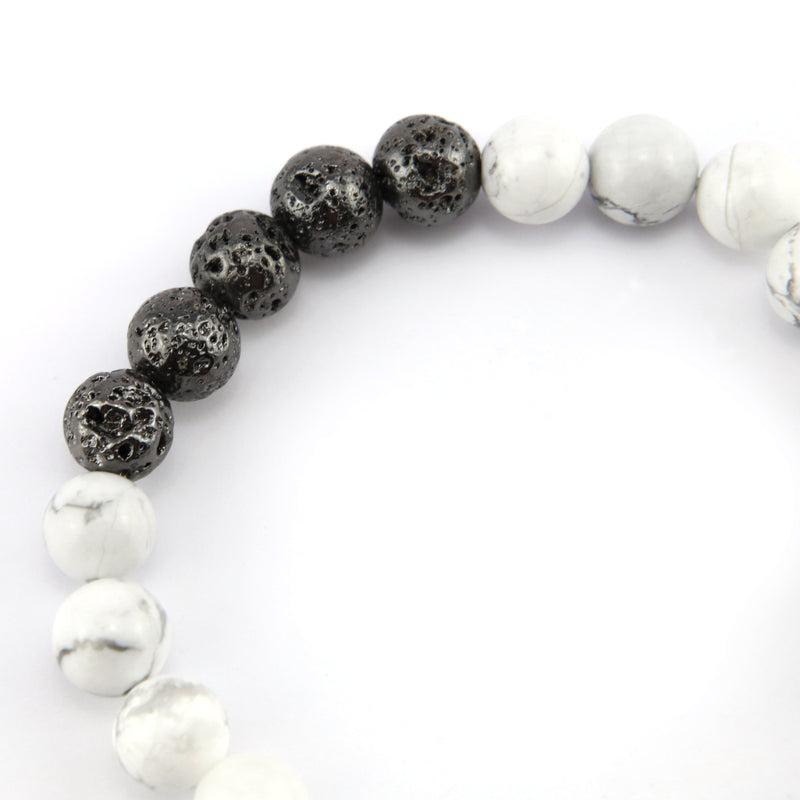 Lava Stone Bracelet -  8mm White Marble + Metallic Lava Stone beads - with Silver Word Charm