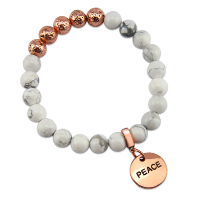 Lava Stone Bracelet -  8mm White Marble + Rose Gold Lava Stone beads - with Rose Gold Word Charm
