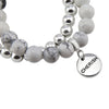 Bracelet Duo! Silver & White Marble bead bracelet stacker set - CHERISH (11522)