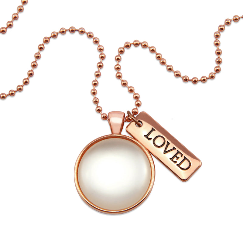 Rose Gold & White Pearl ' LOVED ' Necklace (10861)