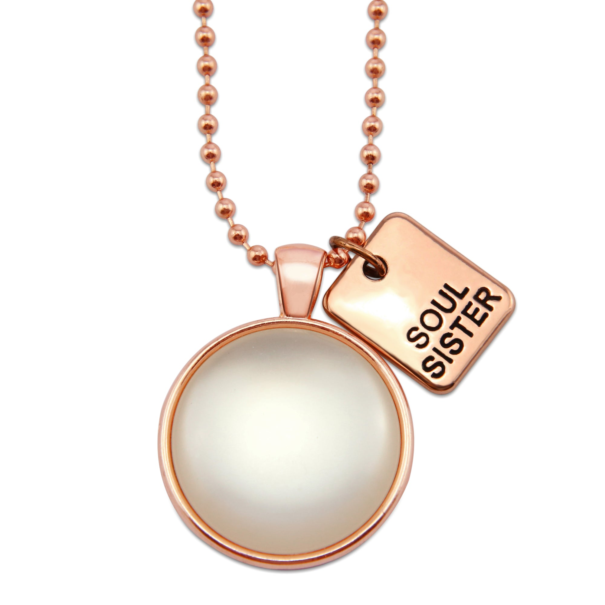 Rose Gold & White Pearl ' SOUL SISTER ' Necklace (11163)