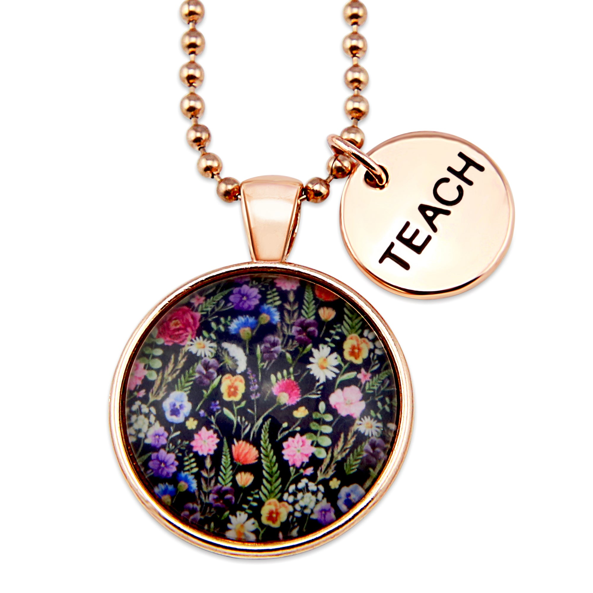 Wildflower Collection - Rose Gold 'TEACH' Necklace - Enchanted (11135)