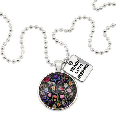 Wildflower Collection - Bright Silver 'TEACH LOVE INSPIRE' Necklace - Enchanted (10122-A)