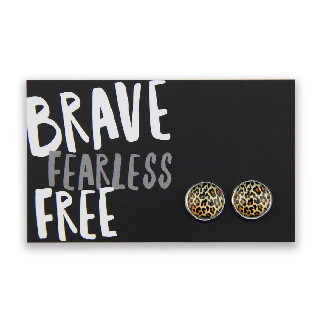 The STRONG WOMEN Collection - Brave Fearless Free - Silver surround Circle Studs - Wild Thing Leopard (9517)