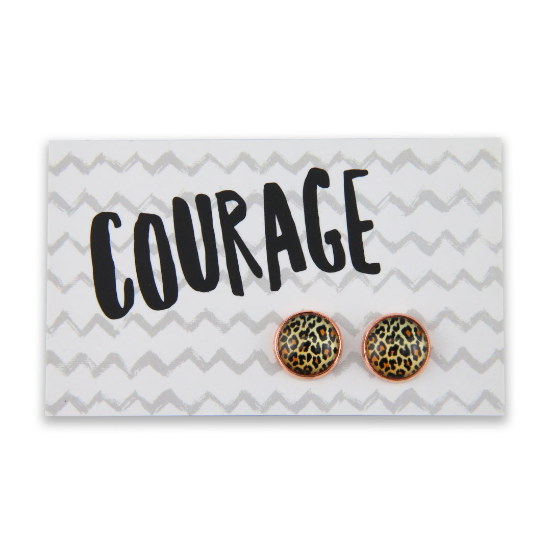 The STRONG WOMEN Collection - Courage - Rose Gold surround Circle Studs - Wild Thing Leopard (9602)