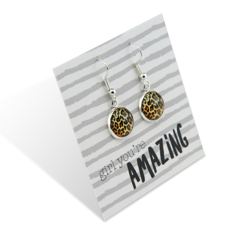 The STRONG WOMEN Collection - Girl You're Amazing - Stainless Steel Bright Silver Dangle Earrings - Wild Thing Leopard (9817)