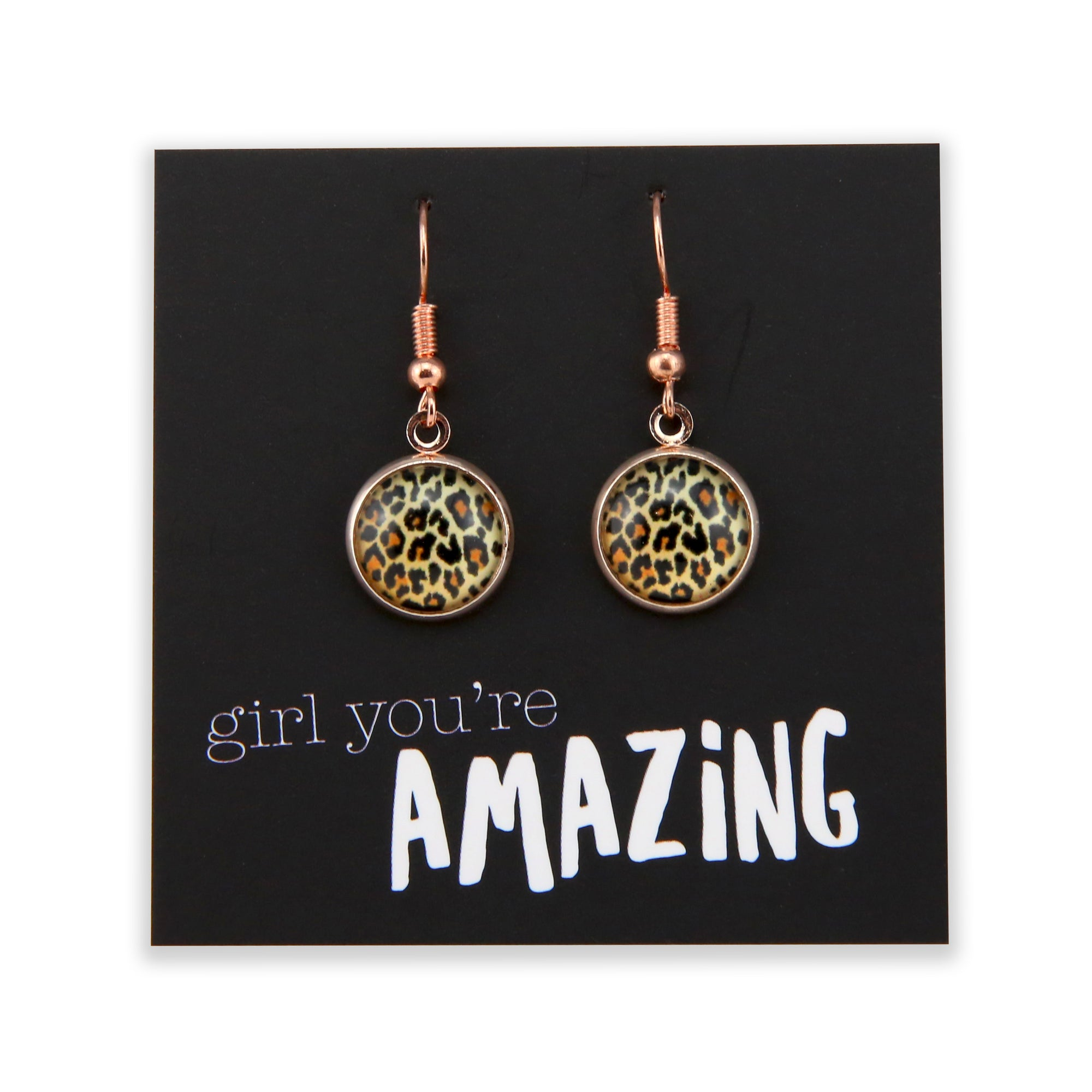 The STRONG WOMEN Collection - Girl You're Amazing - Stainless Steel Rose Gold Dangle Earrings - Wild Thing Leopard (9814)