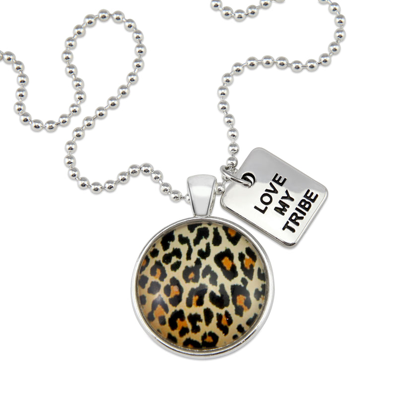 The STRONG WOMEN Collection - Bright Silver ' LOVE MY TRIBE ' Necklace - Wild Thing Leopard (10864)